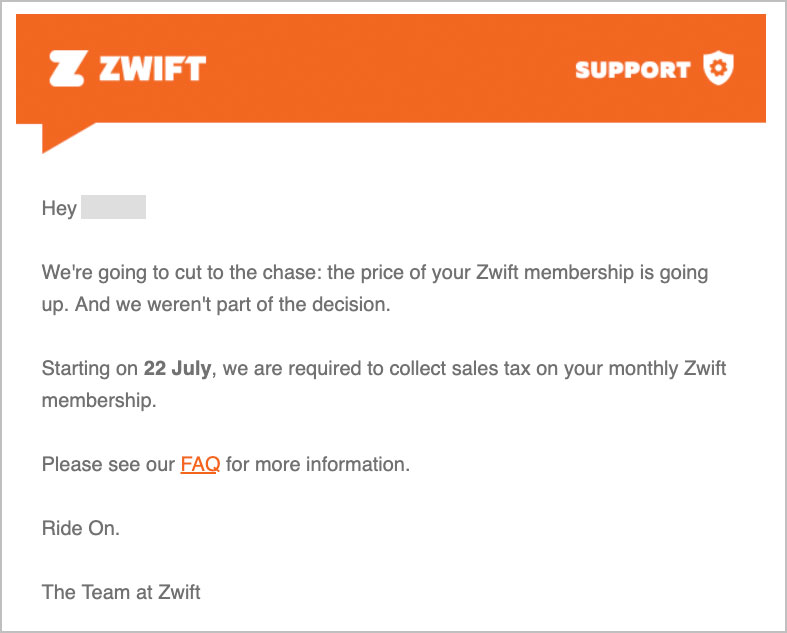 your Zwift membership is going up.