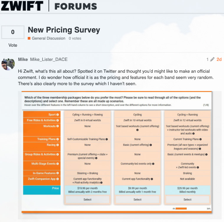 New Pricing Survey - General Discussion - Zwift Forums