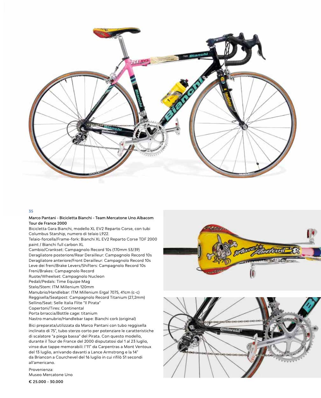 Marco Pantani - Bicicletta Bianchi - Team Mercatone Uno Albacom Tour de France 2000