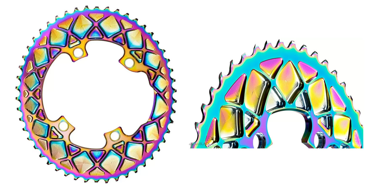 PREMIUM OVAL CHAINRINGS FOR SHIMANO R9100 & ULTEGRA 8000 - PVD RAINBOW